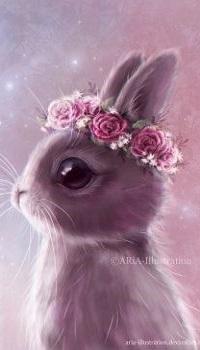 Аватар вконтакте Кролик с венком на голове, by ARiA-Illustration