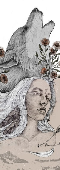 Аватар вконтакте Девушка и волк над ее головой