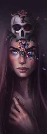 Аватар вконтакте Девушка с черепом на голове и цветами на лице, by Sandramalie