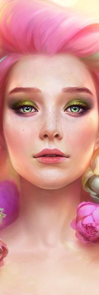 Аватар вконтакте Девушка с цветными волосами на фоне цветов, by Viccolatte