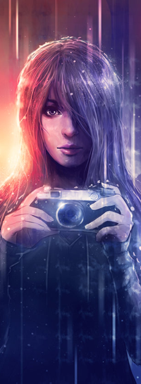 99px.ru аватар Девушка с фотоаппаратом в руках на фоне дождя, by Emeraldus
