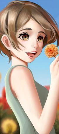 Аватар вконтакте Девушка с цветком на фоне неба, by Ciov-art