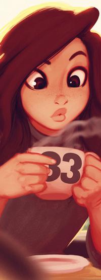 Аватар вконтакте Девушка с веснушками держит кружку с горячим напитком, by Raichiyo33
