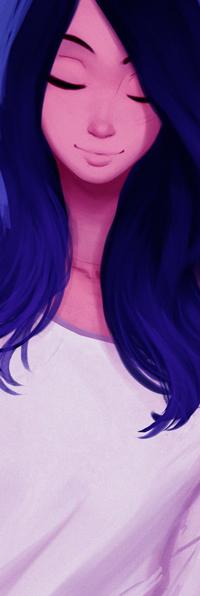 Аватар вконтакте Девушка с синими волосами и белой футболке, by Raichiyo33