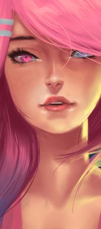 Аватар вконтакте Девушка с розовыми волосами и разноцветными глазами, by konekochwan