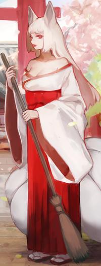 Аватар вконтакте Девушка с лисьими ушками держит метлу, by jayuu