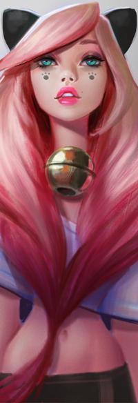 Аватар вконтакте Девушка с кошачьими ушками, лапками на щеках с большим бубенчиком на шее, by Lagunaya