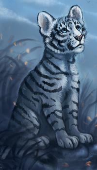 Аватар вконтакте Тигренок сидит в траве, by FlashW