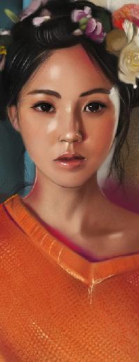 Аватар вконтакте Азиатская девушка с цветами в волосах, by vurdeM