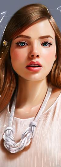 Аватар вконтакте Девушка с ромашкой в волосах и украшением на шее, by vurdeM