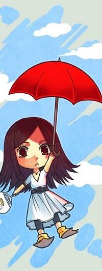 Аватар вконтакте Девочка с красным зонтом летит в облаках, by Nacrym