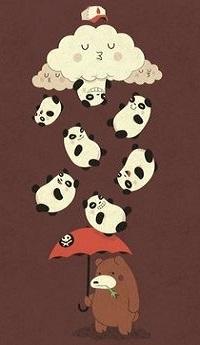 Аватар вконтакте Медведь стоит с зонтом, закрывшись от дождя из панд, иллюстратор Майкл Биспарулца