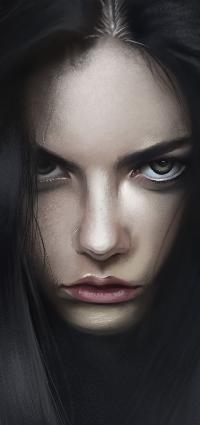 Аватар вконтакте Темноволосая девушка с грустным лицом, by vurdeM