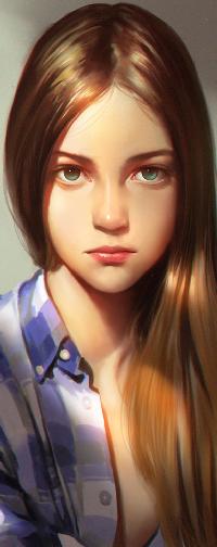 Аватар вконтакте Длинноволосая девушка в клетчатой рубашке, by Liang-Xing