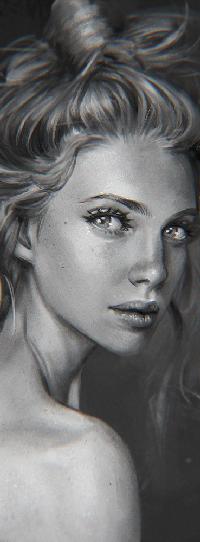 Аватар вконтакте Черно-белый портрет девушки, by serafleur