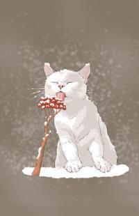Аватар вконтакте Белый кот слизывает снег с ягод рябины, by sseung kim