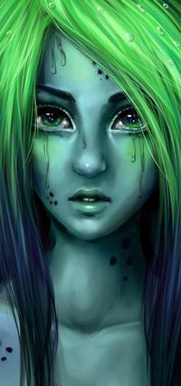 Аватар вконтакте Плачущая зеленоволосая девушка, by Junica-Hots
