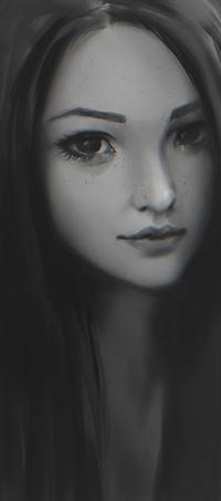 Аватар вконтакте Черно-белый портрет девушки, by Zeronis
