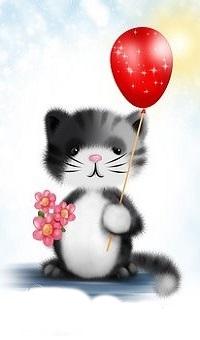 Аватар вконтакте Котенок с красным шариком и цветами