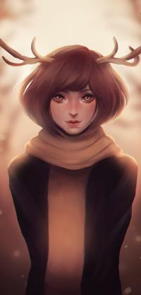 Аватар вконтакте Рыжеволосая девушка с оленьими рожками, by Po-ru