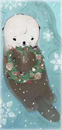 Аватар вконтакте Выдра лежит в воде и держит в лапках рождественский венок
