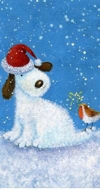 Аватар вконтакте Пес в новогодней шапке с птичкой на хвосте