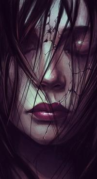 Аватар вконтакте Девушка с закрытыми глазами и трещинами на лице, by SalvDivin