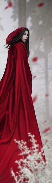 Аватар вконтакте Девушка в длинном красном плаще на фоне деревьев, by Digitalzauber