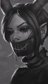 Аватар вконтакте Девушка демон с рожками, в маске, by AngelGanev