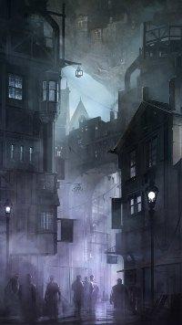 Аватар вконтакте Унылый серый вечер в городке, люди идут по своим делам