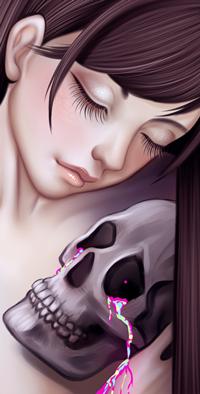 Аватар вконтакте Длинноволосая девушка с закрытыми глазами обнимает череп с жидкостью у глазницы, by Einoa