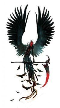 99px.ru аватар Смерть с косой на белом фоне окруженная воронами