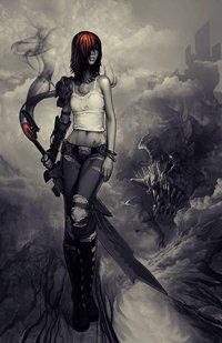 99px.ru аватар Девушка с мечом в руке преследуемая монстрами