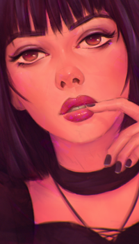 Аватар вконтакте Темноволосая девушка с пальцем у губ, by AngelGanev