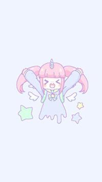 Аватар вконтакте Melty Melco - радостная девочка-единорожка с собранными в два хвостика розовыми волосами и ангельскими крылышками парит среди звездочек