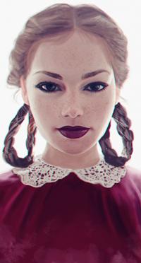 Аватар вконтакте Светловолосая девушка с косичками в красном платье, by pallsoon