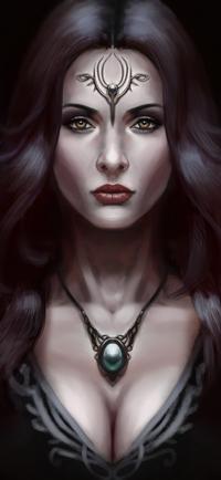 Аватар вконтакте Темноволосая девушка с украшением на лбу и шее, by bearcub
