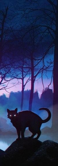 Аватар вконтакте Черный кот стоит на пригорке