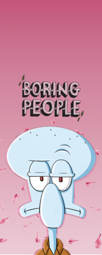 99px.ru аватар Сквидвард Тентаклс / Squidward Tentacles из мультсериала Губка Боб Квадратные Штаны / Sponge Bob Square Pants и фраза Boring people / Скучные люди на розовом фоне