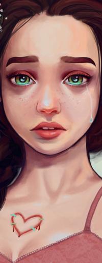 Аватар вконтакте Грустная девушка в розовой майке, by enairya