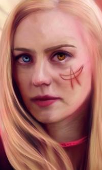 Аватар вконтакте Грустная белокурая девушка с разными глазами и рисунком на лице, by MetagalacticLama