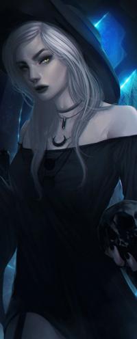 Аватар вконтакте Белокурая девушка в черной шляпке и черепом в руке, by imGuss