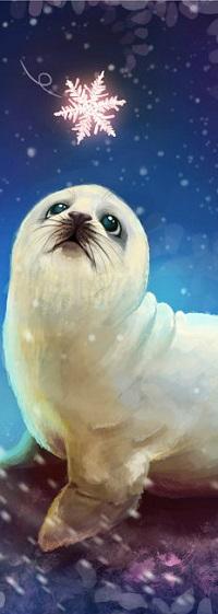 Аватар вконтакте Тюлень смотрит на снежинку