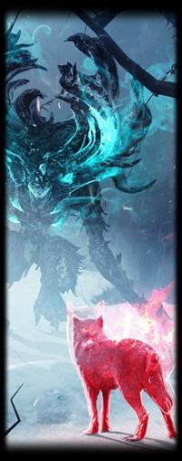 Аватар вконтакте Волк стоит перед лесным чудищем