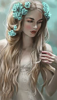 Аватар вконтакте Девушка с бирюзовыми цветами на волосах, by JuneJenssen