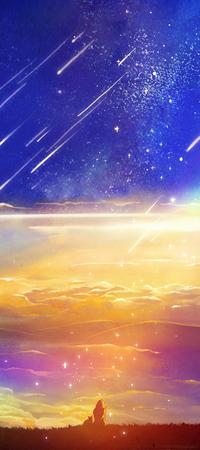 Аватар вконтакте Девушка и кошка сидят на холме над облаками, by CaringWong