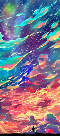 Аватар вконтакте Девушка и кошка на фоне разноцветного неба, by CaringWong