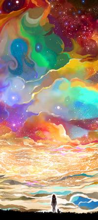 Аватар вконтакте Девушка и кошка на фоне разноцветных облаков, by CaringWong