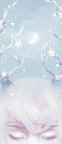 Аватар вконтакте Девушка с оленьими рожками украшенными звездами на фоне полумесяца, by pastellish00