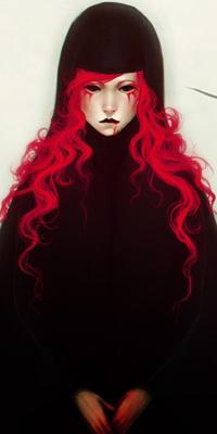 Аватар вконтакте Девушка аниме с красными волосами и кровью на губах